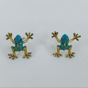 Betsey Johnson Teal Gold Tree Frog Stud Earrings